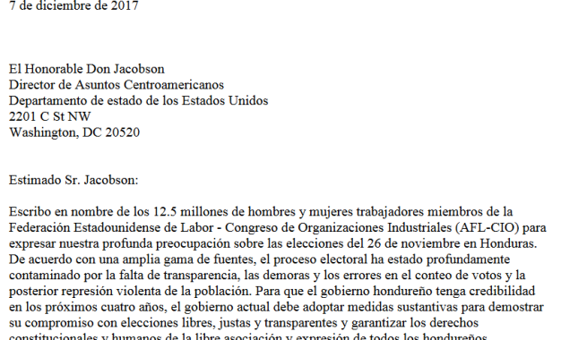 Carta de la AFLCIO a Director Jacobson