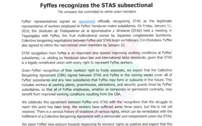 Fyffes recognizes the STAS subsectional